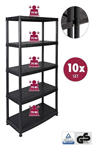 10 Stück XXL Kunststoffregal mit 5 soliden Böden in Schwarz. 70 kg Traglast pro Boden, Gesamttraglast von 350 kg pro Regal. TÜV geprüfte Qualität