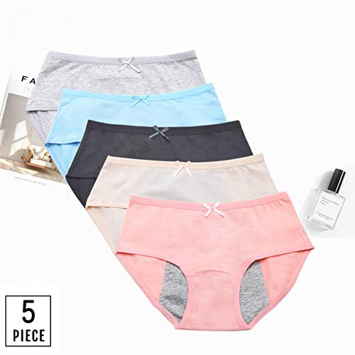 Bruce Dillon Bragas de período Sexy Bragas de menstruación de Cintura Media Ropa Interior a Prueba de Fugas Mujeres XXXL - Multi5, XL, 5 Piezas