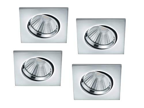 LED Einbaustrahler im 4er Set eckig schwenkbar dimmbar Chrom glänzend 5,5 Watt - flexible moderne Deckenbeleuchtung, Trio Leuchten