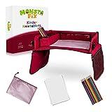 Monstafix® Kinder Reisetisch Auto – Doppelseitiges Knietablett – fixierbarer Autotisch, Spieltisch oder Esstisch – Inklusive Papier und Buntstiften – 100% Komfort (Rot)