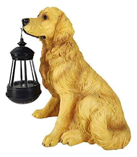 WQQLQX Statue Solarlaterne Hund Skulptur Tier Statue Laterne Garten Licht Statuette Outdoor Garden Pinglin Dekoration Zubehör Kunstdekoration Skulpturen