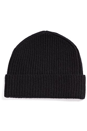 Fishers Finery Men's 100% Cashmere Ribbed Hat; Cuffed; Super Soft (Black),One Size Fits Most