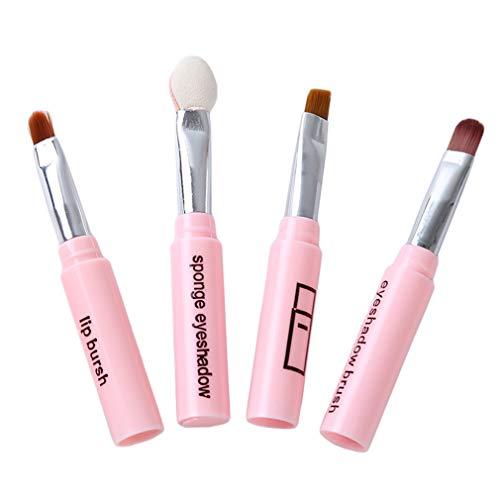 Kingus 4Pcs Make-up Pinsel Set Tragbare Lidschatten Pinsel Lippenpinsel Augenbrauen Make-up Pinsel