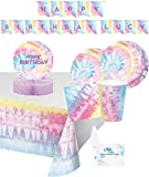 Tie Dye Party Supplies and Decorations - Tie Dye Party Plates and Napkins Cups for 16 People - Includes Tie Dye Birthday Banner, Tablecloth and Centerpiece - Perfect Tie Dye Birthday Party Decorations and Tie Dye Birthday Party Supplies!