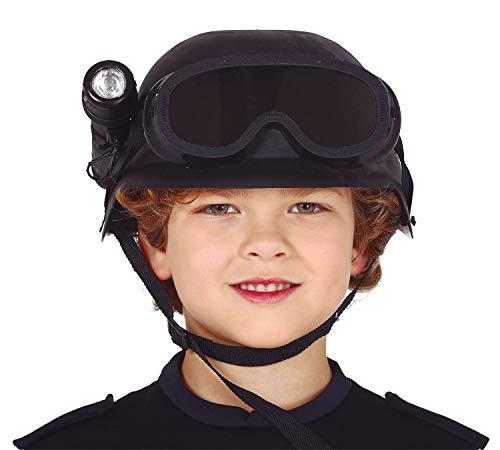 shoperama Kinder Helm Spezialeinheit mit Schutzbrille und Taschenlampe Soldat Polizei SEK SWAT Einsatzkommando Kostüm-Zubehör