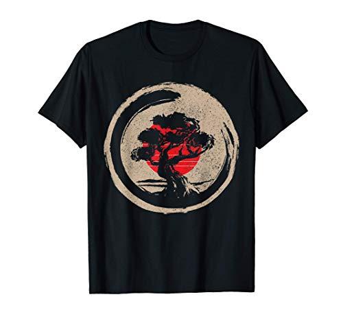 Bonsai Tree Vintage Japanese Flag Zen Bonsai Gift Men T-Shirt