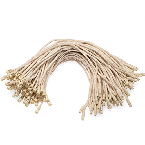 200 Pcs Hang Tag String Nylon Snap Lock Pin Loop Fasteners Security Loop Hook Tie Easy and Fast to Attach (Beige)