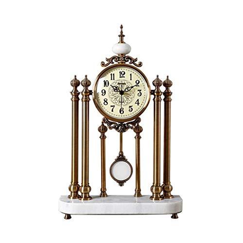 Soporte de Reloj Columpio Reloj Adornos Sala de Estar Muebles nórdicos Reloj Reloj de péndulo Escritorio Americano Péndulo Reloj de Mesa Ornamento Blanco Hogar al Aire Libre (Color: A)