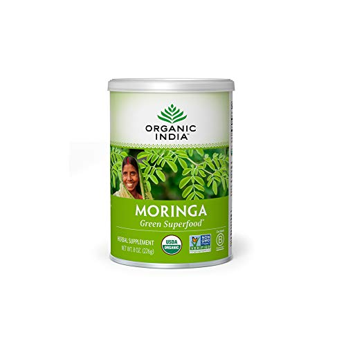 Organic India Moringa Herbal Supplement Powder - Green Superfood, Nutrient Dense, Pure Plant Protein, Vitamin A, E, K, Iron, Calcium, Fiber, Vegan, Gluten-Free, USDA Certified Organic - 8 oz Canister