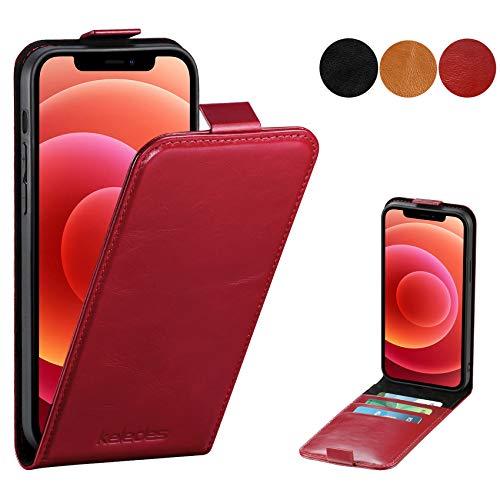 keledes Funda Compatible con iPhone 12 Pro y iPhone 12 6.1', Funda Cuero Piel Genuino con Ranura para Tarjeta Bloqueo RFID,Magnético Carcasa Libro Flip Case Cover para iPhone 12/12 Pro 5G, Rojo