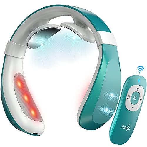 Nackenmassagegerät, Turejo Intelligentes Nackenmassagegerät mit elektromagnetischem Impuls und tiefem Gewebe mit 6 Modi, 15 Stärken, Wärme- und Akku-Steuerung zur Linderung von Nackenschmerzen
