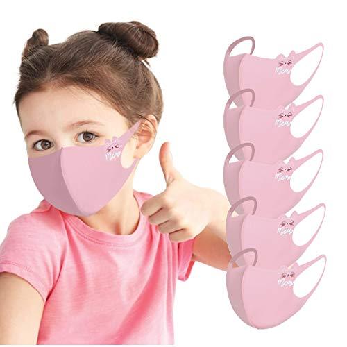 5 Stück atmungsaktive Gesichtsabdeckung für Kinder, Eisseide, waschbar, wiederverwendbar, Anti-Staub-Mundschutz, 3D Anti-Beschlag, Dunst, Gesichtsschutz, nützliches Zubehör für persönliche Pflege (C)