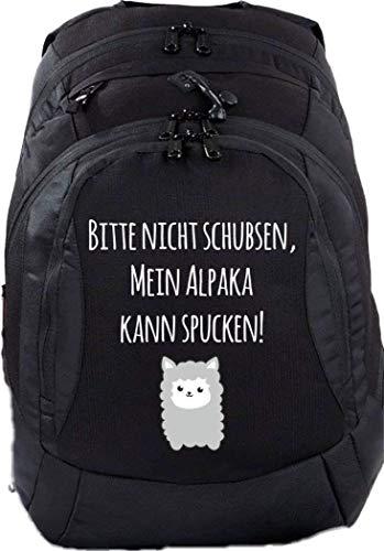 Mein Zwergenland Schulrucksack Teen Compact, 26 L, Schwarz, mein Alpaka kann spucken!