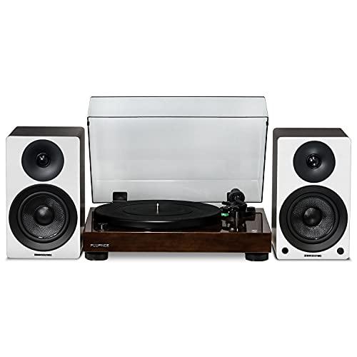 Fluance RT81 Elite High Fidelity Vinyl Turntable (Walnut) with Ai41 Powered 5