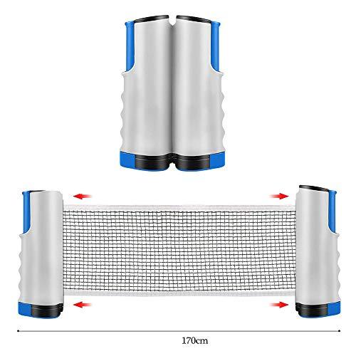 Yierya Red de Tenis de Mesa, Repuesto Portátil Retráctil Table Tennis Net - Ping Pong Net/Mesa de Ping Pong para Entrenamiento Abrazaderas, Longitud Ajustable