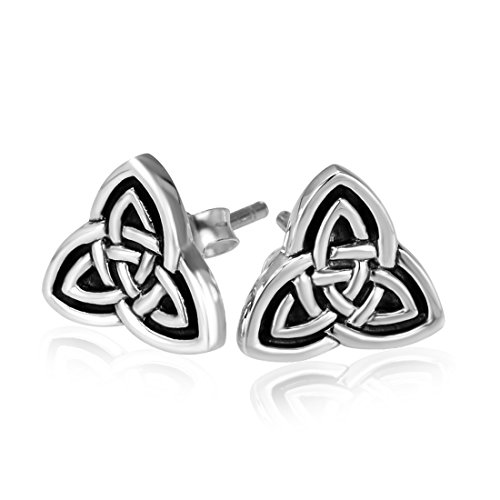 925 Sterling Silver Triquetra Celtic Trinity Knot Stud Earrings