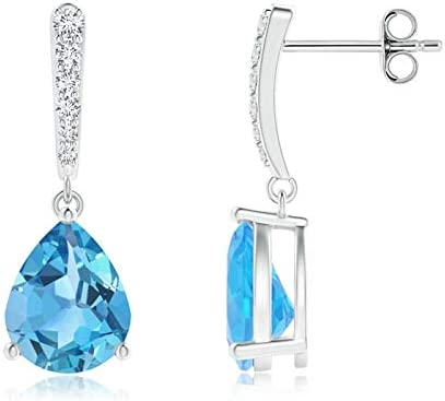 November Birthstone - Memphis Mall Solitaire Year-end annual account Swiss Blue Earrings Topaz w Drop