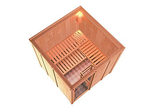 SAUNELLA Sauna mit Ofen | Bausatz Heimsauna - Saunakabine Maße: 196 x 196 x 198 cm | Saunaofen Komplett Sauna Zubehör | Saunaofen mit ext. Steuerung 9 kW