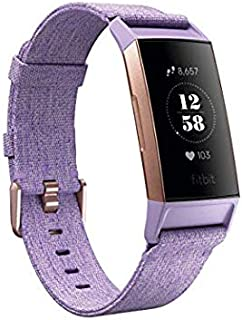 Fitbit Charge 3, Advanced Fitness Tracker, Special Edition, with Heart Rate, Swim Tracking & 7 Day Battery, Lavender Woven/Rose Gold
