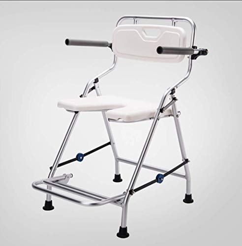 YUQIYU Embarazada plegable silla de baño con apoyabrazos y respaldo de aleación...