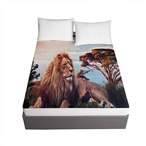 Bedclothes-Blanket Tejidos Edredón Ajustable Cama,Protector de colchón Grueso de la sábana Ajustable de Microfibra Impresa León 3D 30cm Protector de colchón-El 150x200x30cm_4