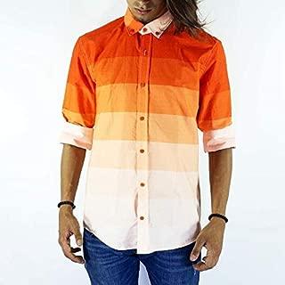 Turuncu Şerit Renk Akımı Slimfit Erkek Gömlek