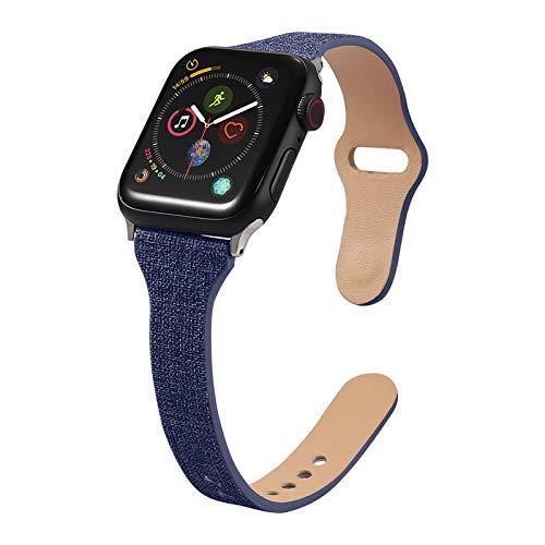 Fhony Correa Compatible con Apple Watch 38mm 40mm 42mm 44mm Correa Cuero Pulsera Correa de Repuesto de Piel Auténtica para Iwatch Series 6 5 4 3 2 1 SE,Azul,42/44mm