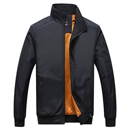MAYOGO Herren Sweatjacke Warm Gefüttert Übergangsjacke Innenfutter Zip Softshelljacke Regenjacke Freizeit Outdoor Jacke (Schwarz, M)