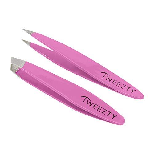 Tweezty Tweezer Set for Travel - Mini Slant Tweezers and Precision Tweezers - Tweezers for Eyebrows and Tweezers for Ingrown Hair - Pink Tweezers Kit with Travel Case
