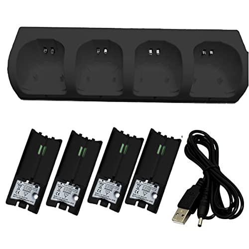 Yolispa Ladestation für Wii- Controller mit 4 Wiederaufladbaren Batterien Und LED- Anzeigen