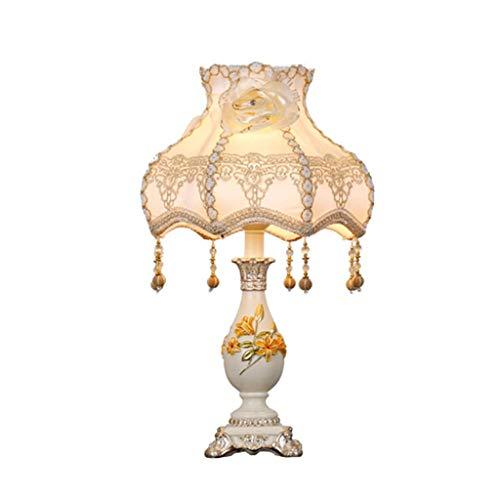 QND Xzgang Lámpara de Mesa Cálida, Lámpara de Mesa Romántica Creativa Lámpara Colgante de Cristal Pantalla Bordada Lámpara de Mesa Tallada E27 Control de Botón 33 * 33 * 52Cm Inicio,Blanco