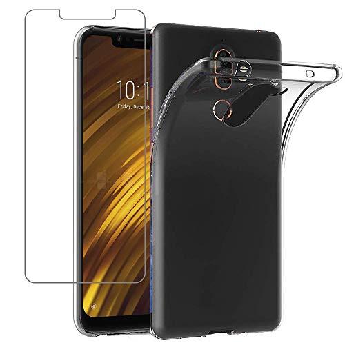 Young & Ming Cover Xiaomi Pocophone F1 + Vetro Temperato, TPU Silikon Case Custodia Shock-Absorption Bumper e Anti-Scratch Back