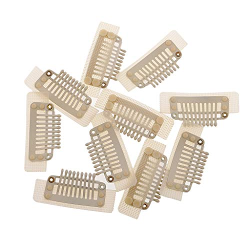 harayaa 10pcs / Kit Clips de Peigne à Pression pour Trame D'extension de Cheveux 35mm - Blanc/Noir - Blanc, 35mm - Blanc