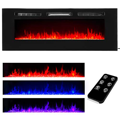 "XtremepowerUS Recessed Electric Fireplace Dual in-Wall/Wall Mounted Electric Heater Insert Fireplace 750W 1500W (50"")"