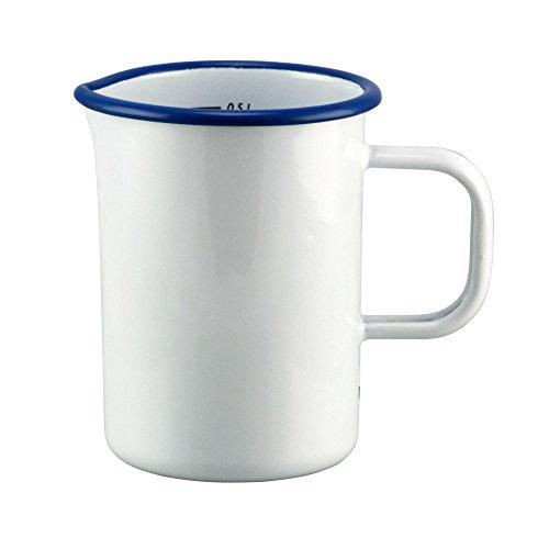 Münder-Emaille - Messbecher - Weiß/Blau - Ø8xH12cm - 500ml