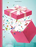 Notebook: Hot Pink Gift Box with Colorful Confetti on Teal Cover / College Ruled 8.5x11 Letter Size / 120 Blank Lined Pages for School / Work / Journaling / Writing / Note Taking