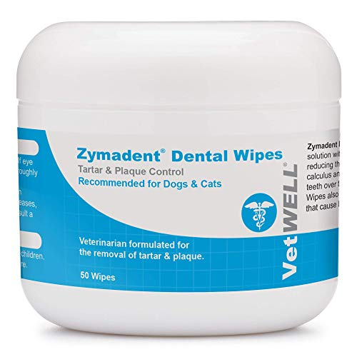 VetWELL Zymadent Cat & Dog Dental Wipes - Teeth Cleaning & Dental Care with Chlorhexidine - Tartar Remover for Teeth, Reduce Plaque, Breath Freshener - 50 ct