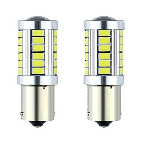 Lot de 2 ampoules LED 1156 BA15s P21W 33SMD 5730 pour feux arrière de voiture R5w (blanc, 1156)