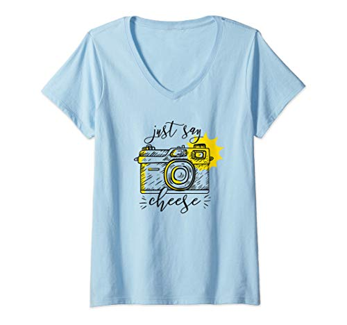 Womens JUST SAY CHEESE Illustrated Camera Photographer Meme Gift V-Neck T-Shirt