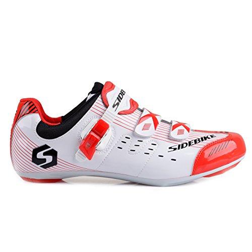 TXJ® Unisexo Zapatos de Bicicleta de Carretera (Elija un Tamaño Más Grande de lo Habitual)(SD-003 Blanco-Rojo,42)
