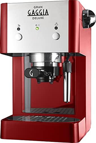 Gaggia RI8425 22 GranGaggia Deluxe Macchina Manuale per il Caffè Espresso, Macinato e Cialde, 15 bar, Colore Rosso