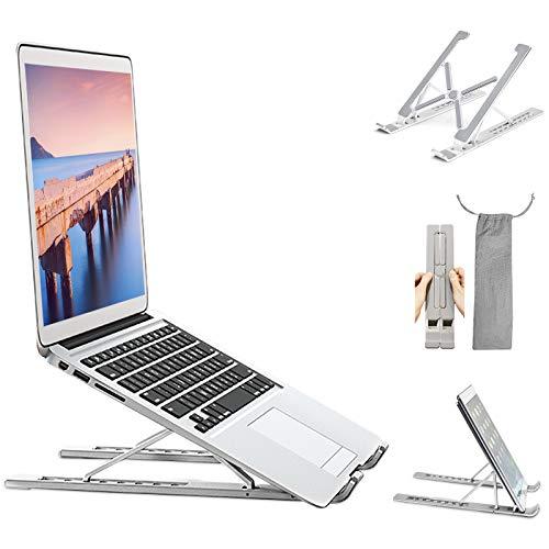 Verstellbarer Laptop-Ständer für den Schreibtisch, tragbar, faltbar, aus Aluminium, belüftet, für MacBook Pro Tablet, iPad Ständer, 7 Höhe, 10-17 Zoll (25,4-43,2 cm)