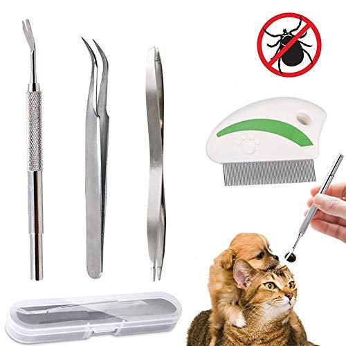 Tick Twister, Pinzette a Spillo con 4 Set di qualità Professionale in Acciaio Inossidabile - Facilità di Rimozione delle Zecche - Ganci Antifurto per Animali, Cani e Gatti