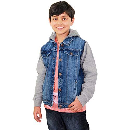 A2Z 4 Kids Kids Boys Designer Fashion Jeans Jacket Fleece Sleeves & Hood - Boys Denim Jacket JK15 Dark Blue 7-8