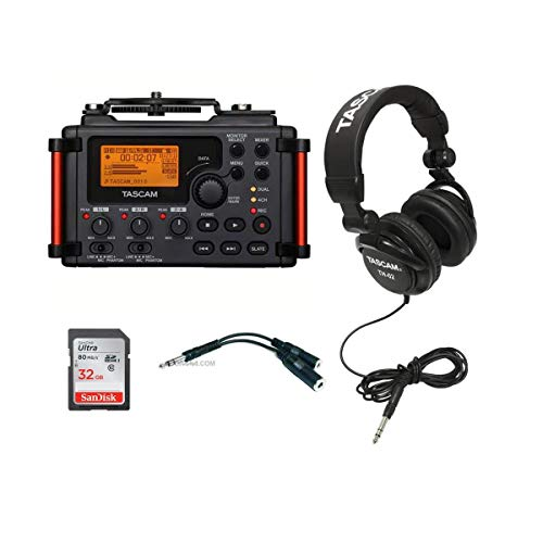 """Tascam DR-60D MKII Portable Recorder for DSLR - Bundle with 32GB SDHC Card, TH-02 Multi-Use Studio Grade Headphones, Black, 6"""" Stereo 1/4"""" Male to Two Stereo 1/4"""" Female Y-Cable"""