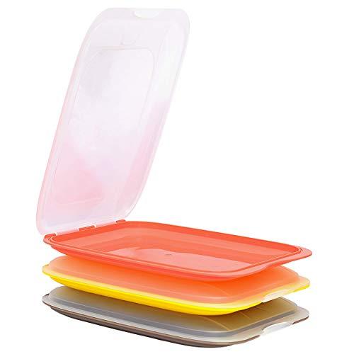 EnGELLAND - Set di 3 scatole impilabili di alta qualità, per salsicce e salsicce, perfetto ordine in frigorifero, colore: marrone salmone giallo, dimensioni 25 x 17 x 3,3 cm