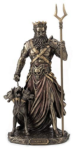 Veronese Design 10.6' Hades Greek God of The Underworld with Cerebrus Hell Hound Statue Cold Cast Resin Antique Bronze Finish