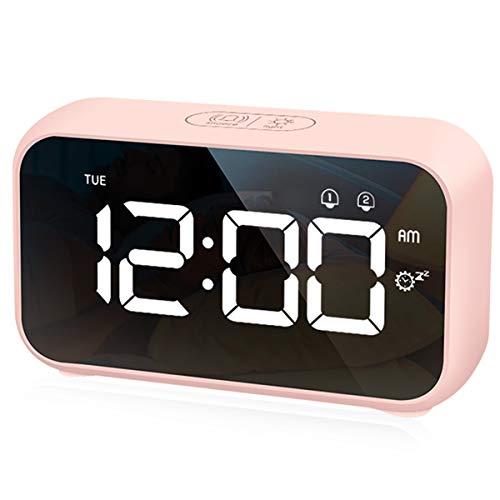 HOMVILLA Digitaler Wecker, LED Digital Wecker Spiegel Tischuhr USB Wiederaufladbar Reisewecker mit 2 Alarmen/Snooze/Nickerchen Zeit/Sprachsteuerung Funktion, 4 Helligkeit