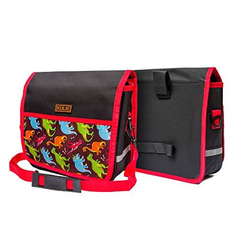Kulie Bike Handlebar Bag for Kids, Multifunctional Bike Basket for Girls and Boys, Waterproof Bag with a Sturdy Strap, Dinosaur