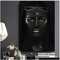 セクシーなアフリカンアート黒と金のヌード女性油絵キャンバスクアドロスポスターとプリント壁アート写真リビングルーム60x80cm(24x32in)